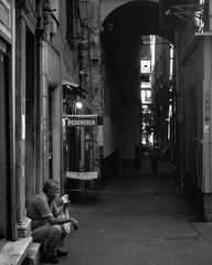 """Break Time"" (giannipaoloziliani) Tags: citylife life shadows darkness dark darklights flickr urbanlife urbanblackandwhite streetlife man shops pescheria centro arc italia liguria centre iphone iphonephoto streetphoto capturemoment monocromatico biancoenero genoacity italy capture streetphotography urban street urbanstreet downtown city genova monochrome blackandwhite men pausa hungry pause breaktime break"