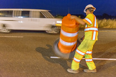Setting up barrels in traffic (OregonDOT) Tags: oregondot oregonstatepolice kniferivercorporation workzone workzonesafety construction oregon odot safety patrol enforcement police woodburn interstate5 i5