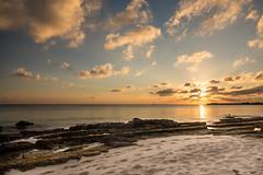 Caribbean Sunset (Elyssa Drivas) Tags: canon caribbean caribbeansea caribbeancoast caymanislands clouds sky sun sunset sunny summer beach beauty beautiful vacation travel tourist sevenmilebeach sea rocks sand sandy