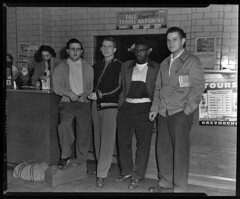 91.47.0550 4 young men at bus station_positive (MassMu Collections & Archives) Tags: transporation bus busterminal buses vehicle massillon museum ohio