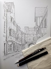 Study of a York street (WiP) (Blue York) Tags: allantadams drawing sketchbook pencilstudy highpetergate york architecturalillustration oldbuildings boothambaryork medieval victorian