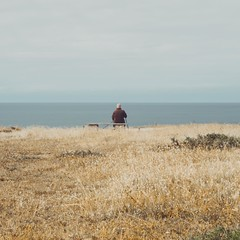 The old man, the golden field and the sea (dono heneman) Tags: champ field doré golden or gold sea mer minimaliste minimalisme minimalism ciel sky nuage cloud poselongue longexposure pose longue ocean océan océanatlantique eau water gens people human humain homme man banc bench végétal vegetal végétation herbe grass côte coast plage beach lepouliguen loireatlantique paysdelaloire france pentax pentaxart pentaxk3
