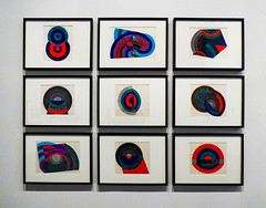 Does Anyone Own a Record Player? (Steve Taylor (Photography)) Tags: record watercolour ink painting christchurchartgallery art artgallery blue green red white strange weird newzealand nz southisland canterbury christchurch city circle curve shape