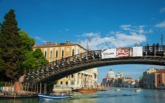 Ponte dell'Accademia (JDWCurtis) Tags: pontedellaccademia accademia accademiabridge bridge footbridge water waterway waterfront river canal city cityscape citystreet skyblue sky blue boat boats boating dome tree trees wakes italy italian venezia venice