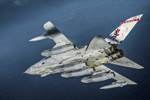 41 Squadron Panavia Tornado GR4, preparing to test fire four Storm Shadow missiles.