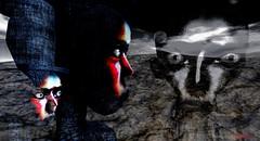 The capital/ Artists:Meilo Minotaur & Cap Cat Ragu (Bamboo Barnes - Artist.Com) Tags: meilominotaur capcatragu art installation theswamp surreal avatar thecapital digitalart virtualart secondlife monochrome black white grey blue red eyes bamboobarnes photo painting collage bergbynordanart moon