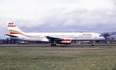 G-OOOC. Air 2000 Boeing 757-28A (Ayronautica) Tags: goooc boeing75728a air2000 glasgow egpf gla airliner aviation ayronautica scanned 1989