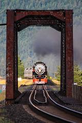 Splitting the bridge at Cook, Washington (Cropped) (ScholzRUNNER) Tags: 4449 sp sp4449 spdaylight southernpacificrailroad steamlocomotive washington tracks trains railroad railroadphotography