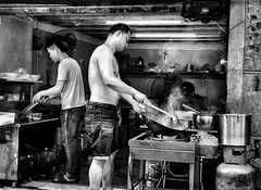 Guangzhou, China (-Faisal Aljunied - !!) Tags: wok cooking frying blackandwhitestreet iphone7plus china guangzhou streetphotography faisalaljunied