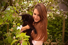 Sweet memory... (Maria Godfrida) Tags: smileonsaturday preciouspets pet pets cat black nature spring portrait woman young green blossoms garden 7dwf