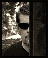 Glimpse (J Michael Hamon) Tags: portrait sepia toned monochrome railroad outdoor face head hamon nikon d3200 nikkor 35mm photoborder