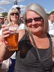 Cheers! (Reinardina) Tags: southampton england thecommon letsrock music festival concert people sunshine fun streetphotographywomanmature woman pint beer smile cheers skol proost prosit drink summer