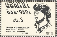 Gemini: Gemini - Shelbyville, Tennessee (73sand88s by Cardboard America) Tags: qsl qslcard cbradio cb vintage tennessee gemini artistcard