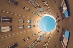 The Portal, Kolmas Linja (Bunaro) Tags: nordic classicism architecture portal courtyard round blue clear sky kolmas linja helsinki finland suomi gate otherworld world