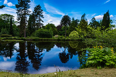 blue lagoon (Phil-Gregory) Tags: nikon d7200 sigma18250macro chatsworthhouse garden lake blue clouds reflections peakdistict derbyshire trees colour bushes national nature nationalpark naturalphotography naturalworld natural naturephotography countryside wideangle ultrawide