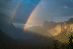 Tunnel View Rainbows (Jeremy Duguid) Tags: rainbows rainbow travel nature landscape yosemite national park parks el capitan bridalveil falls waterfall waterfalls half dome california cali west western usa jeremy duguid sony summer spring storm rain clouds sunset dusk evening afternoon