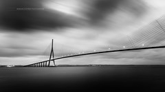 Pont de Normandie..(Explore 10/07/17) (f.ray35) Tags: noiretblanc blackandwhite bridge calvados normandie longexposure poselongue contraste filtre nd1000