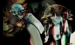 Great escape / Artist : Rebeca Bashly (Bamboo Barnes - Artist.Com) Tags: rebecabashly greatescape surreal pressure social society power victims fear art installation blueorangegallery secondlife digitalart virtualart vivid dark light shadow photo painting black grey blue red yellow bamboobarnes