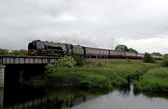 46233 rockets over the River Soar (in explore) (Andrew Edkins) Tags: 46233 duchessofsutherland lms stanier pacific railwayphotography riversoar travel trip steamtrain midlandmainline thepeakforester coronationclass water reflection geotagged canon 2017 june mainlinesteam uksteam light overcast westcoastrailways pylon normantononsoar leicestershire england explore flickr