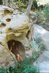 Desiree - Secret Spot (Caroline Kutchka Folger) Tags: california malibu canyon losangeles hiking rocks fairy film 35mm analog lomography girl woman dress hike portrait forest stone formation woods young la