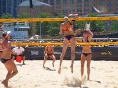 Hughes and Claes (far court) against April Ross and Kerri Walsh (amiterangi1) Tags: kellyclaes sarahughes avp beachvolleyball avpnyc claesandhughes claeshughes