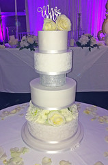 Diamante Lace Flowers Wedding Cake