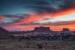 Red Sky, Red Rocks (Kirk Lougheed) Tags: coloradoplateau merrimac merrimack merrimackbutte monitor monitorbutte usa unitedstates utah butte dawn landscape outdoor sunrise