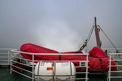 Forestville ferry (Eileen NDG) Tags: forestville july quebec river stlawrenceriver ferry fog lifeboat boat