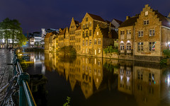 Another mirror effect (Enrique EKOGA) Tags: water mirror reflection architecture gand ghent belgium belgique leie river houses buildings bluehour longexposure nikon tokina ultrawideangle windows lights
