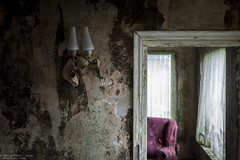 The best is yet to come (Dennis van Dijk) Tags: urban exploration eu ue urbex forgotten abandoned beauty lost found mold house maison manoir ferme farm belgium decay derelict wall peeling lamp light chair red dof 50mm travel wanderlust