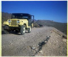 Near Rhyolite, Nevada - 1970 (tonopah06) Tags: 1970 jeep cj5 rhyolite miningcamp ghosttown deathvalleynationalmonument deathvalley national park ca california kodak instamatic print negative lasvegasandtonopah railroad grade abandoned nevada nv nyecounty beatty lvtrr lvt