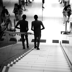 By arriving at the mall (pascalcolin1) Tags: paris13 italie2 homme man reflets reflection escalier stairs glace miroir mirror photoderue streetview urbanarte noiretblanc blackandwhite photopascalcolin
