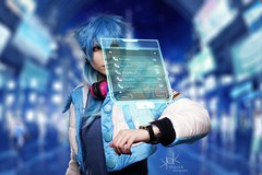 "Highness Cosplay as Aoba Seragaki - from Dramatical Murders - by SpirosK photography: the ""blue"" portraits (SpirosK photography) Tags: highnesscosplay aobaseragaki dramaticalmurder spiroskphotography white portrait crossplay studio blue cyberpunk composite rule63"