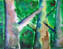 Trees, by Carlos C. - DSC01360 (Dona Minúcia) Tags: art painting watercolor study paper tree nature arte landscape pintura aquarela paisagem árvore tronco
