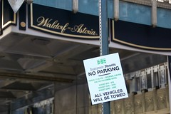 Some signage for Summer Streets in front of the Waldorf-Astoria Hotel  as seen during City Streets in Manhattan. (jackszwergoldarchives) Tags: manhattan newyorkcity summerstreets szwergold