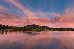 Mont Saint-Hilaire (gallant_jonathan) Tags: mont church sunset pink sky water reflection color mountain river sainthilaire town richelieu cloud blue