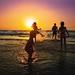Bathing at sunset - Tel-Aviv beach