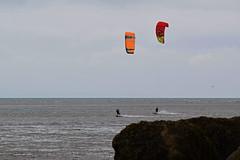 Kite Surfing 3 (Lord Edam) Tags: sea coast coastline beach river sand rocks llandudno conwy clouds waves mountains groyne kite surfing kitesurfing actionsports
