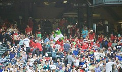 Phillie Phanatic in the stands at Safeco Field (hj_west) Tags: baseball philadelphiaphillies seattlemariners safecofield mlb interleague stadium night sports mascot phanatic