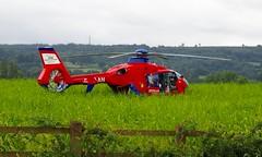 Devon Air Ambulance (Hammerhead27) Tags: rotor redwhiteandblue somerset wellington devonairambulance landed field emergency helicopter