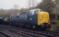 "DPS Deltic 55009 ""ALYCIDON"" at Grosmont, NYMR, October 1982 (colin9007) Tags: br english electric napier deltic class 55 55009 d9009 alycidon dps nymr grosmont"