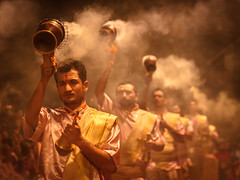 Ganga Aarti - Varanasi, India (Kartik Kumar S) Tags: varanasi uttarpradesh india canon 600d tokina 1116mm morning sunrise shivratri people places street photograpy saint walk steps lines geometry dawn prayers travel fire steam ganga aarti