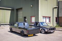 (Chris B70D) Tags: mk1 caddy pickup truck tuckin minitruck mini caddys rabbit twins twinning father son team air ride static road trip new old retro classic modern