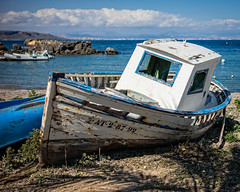 The Old Fishing Boat (Tabarca, Spain 2016) (Alex Stoen) Tags: abandoned alexstoenphotography beach clouds coast costablanca destination fishingboat history horizon horizontal island leicamptyp240 mediterraneansea retired rotting sea shade sky spain tabarca travel economy evolution old tourism wood