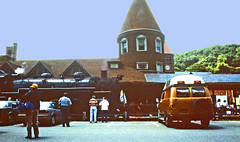 Railfan Trip, Railroad Station, Jim Thorpe, Pennsylvania (3 of 3) (gg1electrice60) Tags: jimthorpe townofjimthorpe pennsylvania penn pa jimthorpepa boroughofjimthorpe carboncounty countyseat railfanexcursion bluemountainreadingrr railfanexcursiononbluemountainreading railroad readingandnorthernrailroad readingnorthernrr independencedaytrip july4th julyfourth us209 route209 usroute209 rte209 railroadtracks track milemarker jimthorpestation railroadstation railroaddepot steamlocomotive steamengine engine steam conicalroof dormers clock people railfans anthracitecoal