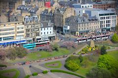 View from Edinburgh Castle (Alex Fordham) Tags: tiltshift tilt castle edinburgh scotland unitedkingdom britain tram highstreet gardens city urban