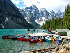 Moraine Lake Canoes (kirknelson) Tags: mountains banff canada morainelake canoes