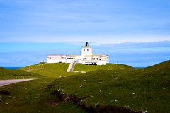 Strathy Point Lighthouse (rustyruth1959) Tags: nikon nikond3200 tamron16300mm scotland sutherland strathypointlighthouse strathypoint lighthouse building structure tower light outdoor coast sky remote automated blue grass steps path track