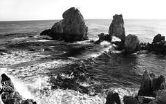 Chuam rock #2 (daniel0027) Tags: chuambeach bw monotone eastsea gulls smashingwaves morning rocky craggycoastline chuamdong donghaesi gangwondo korea rocks