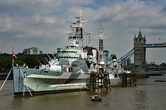 HMS Belfast and Tower Bridge, River Thames, London, UK (rmk2112rmk) Tags: riverthames london uk hms belfast river thames warship ship boat royal navy townclass light cruiser